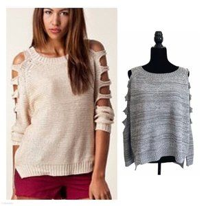 LF Chandelier Gray Cut Out Sleeves Knit Sweater